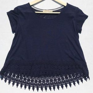Rewind Navy Blue Top with Lace Detail Bottom